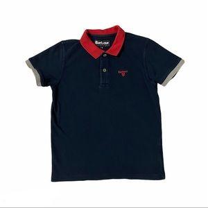 BARBOUR Boy's Navy Short Sleeve Polo Shirt Sz M